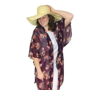 Cotton Candy Floral Maroon Kimono